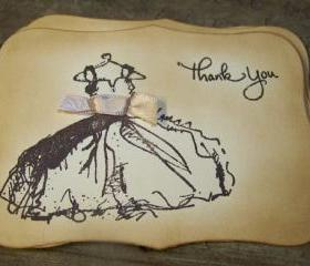 Bridesmaids - Dress - Thank You Cards - Swarvoski Clear Crystals - Vintage Style - Set of 6
