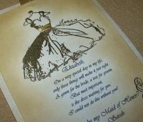 Maid of Honor - Personalized - Gold Embossed Fancy Dress - Vintage Style - Luxurious Keepsake Card